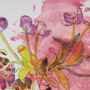 Wilting Tulips in pen & ink i